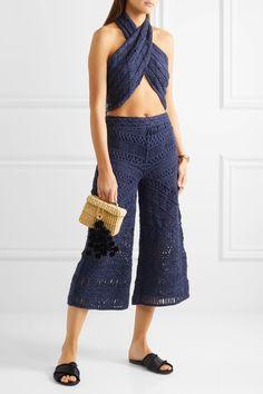 Tabula Rasa - Sahara Macramé Silk And Cotton-blend Culottes - Midnight blue - Tabula Rasa, Soft Pants, Suits You, Midnight Blue, Who What Wear, Fitness Models, Celebrity Style, Silk, Cotton