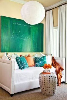 turquoise & orange | daybed | large canvas art --like curtains too