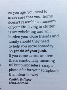 Clutter Free Advice & Growing Old Gracefully