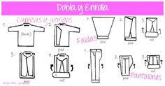 roll and fold, pack, bag, tips, maleta, empacar