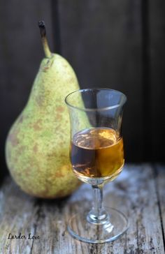 Super easy recipe for homemade pear liqueur with only a few natural ...