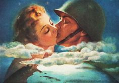 Up in the clouds in love. ~ WWII era romance illustration, ca. 1940s.