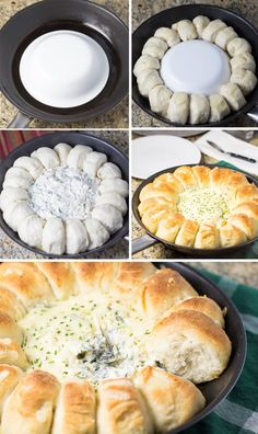 This spinach artichoke dip bread ring recipe was prepared using a cast iron skillet. Dough is arranged in a circle with the dip baked in the middle.