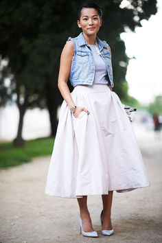 Shop Similar Denim Vest: Rag & Bone Shop Similar Skirt: Asos Shop Similar Heels: Sophia Webster