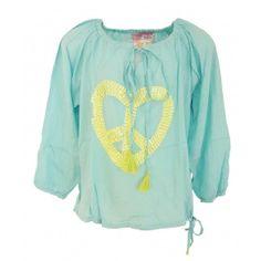 blouse peace heart aqua lime  #kindermode #hotlava #baffi