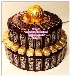 Chocolate Hershey's & Dove Candy Bar Cake www.SweetArtCandy.net - Mom's birthday