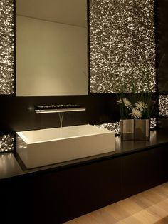 You can find here amazing and very creative contemporary bathroom design ideas.You can create modern look in your bathroom design with these ideas Contemporary Bathrooms, Contemporary Decor, Modern Bathroom, Contemporary Stairs, Modern Sink, Contemporary Cottage, Kitchen Contemporary, Contemporary Apartment, Contemporary Chandelier