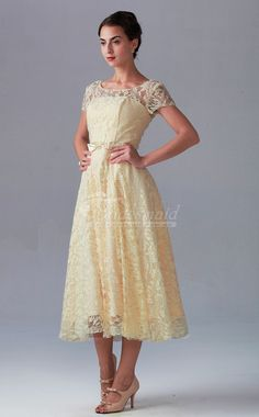 A Line/Princess Illution Neckline Tea Length Lace dress Cute Wedding Dress, Fall Wedding Dresses, Colored Wedding Dresses, Dream Wedding, Designer Bridesmaid Dresses, Lace Bridesmaid Dresses, Lace Dresses, Lace Tea Length Dress, Wedding Pinterest