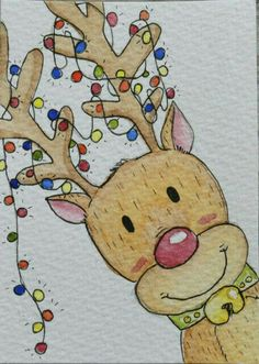 christmas drawings ACEO Original Watercolour and Pen - Reindeer Christmas Collection Christmas card Christmas Sketch, Watercolor Christmas Cards, Christmas Rock, Diy Christmas Cards, Watercolor Cards, Xmas Cards, Christmas Crafts, Reindeer Christmas, Reindeer Drawing