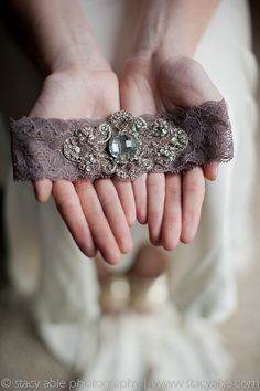 Vintage Garter. Dusty purple lace with vintage inspired hand beaded trim. Comes with toss garter. Stacy Able Photography