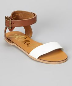 d0292601170 Another great find on  zulily! Tan  amp  White Melissa Leather Sandal   zulilyfinds