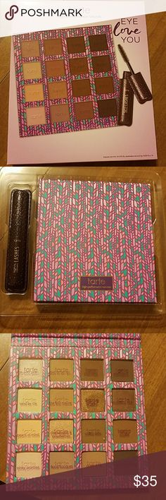 Tarte eyeshadow palette limited-edition eye love you eye set. Sold out on tartes website. Never used the mascara since I have one in my collection. All colors were swatched and used a couple of colors twice. Trying to save up for the lorac pirates of the Caribbean eyeshadow palette. tarte Makeup Eyeshadow