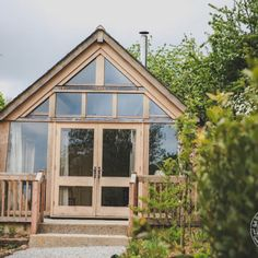A glazed gable end in an oak frame garden room Cornwall