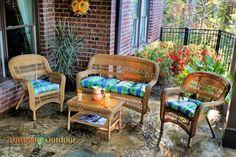 Portside 4 Piece Wicker Lounge Seating Set - Southwest Amber