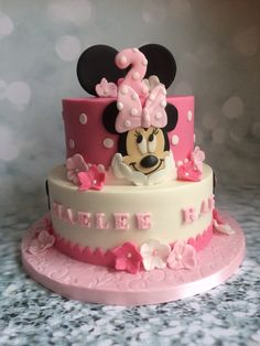Mini Mouse Cake, Minnie Mouse Birthday Cakes, Mickey Mouse Cupcakes, Mickey Cakes, Happy Birthday Cakes, Birthday Cake Girls, Mickey Birthday, Bolo Mickey, Cake Competition