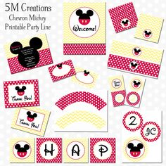 Chevron Mickey Mouse Party Decorations - Mickey Mouse Printable Package - Mickey Birthday Banner - Invitation - Mickey Cupcake Toppers