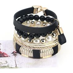 Europe and America Style Fashionista Series Imitation Leather Pendant Multi Level Charming Black Bracelets for Girls