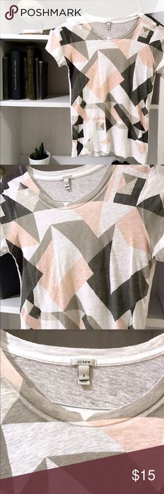 J. Crew Geometric Linen Tee Cute geometric linen tee! 100% linen with a dusty pink, tan, charcoal and white pattern. Great condition and perfect under a cardigan!         Brand: J. Crew.                                                            Size: S. J. Crew Tops Tees - Short Sleeve