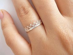 Sterling Silver Crown Ring Princess Crown Ring