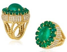 Andreoli emerald cabochon cocktail ring | JCK On Your Market