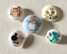 The painted bone button is a sew thru - the others are self shanks. | eBay!