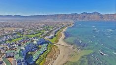 Greenways Golf Estate in the Strand. Emerald Bay apartment complex is located on the bottom left of the photo - offering a unique on the beach lifestyle in the Helderberg. Best Family Beaches, Somerset West, Golf Estate, Beach Road, Table Mountain, Coffee Shops, Afrikaans, Countries Of The World, Cape Town