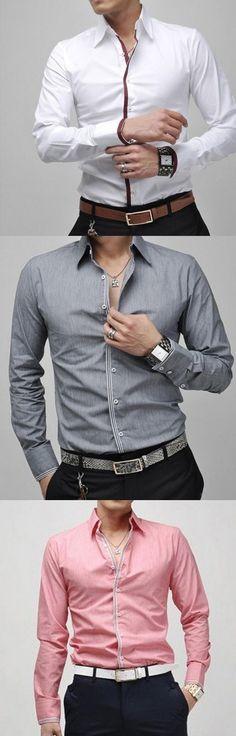 Men's White/Blue/Gray Slim Long Sleeve Shirt