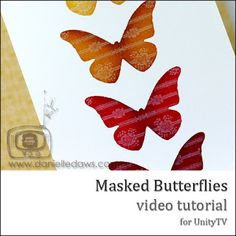 DIY Tutorial. Masked Butterflies :: how to make & apply the masks, how to choose, apply & blend the Distress inks & adding the white pigment inked background stamp on top of each BF.
