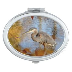 Great Blue Heron framed with fall foliage Vanity Mirror - animal gift ideas animals and pets diy customize