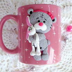 A Teddy bear mug 35,00 $ Ceramic mug with handmade polymer clay decor. 10 oz