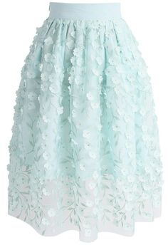 Spirit of Spring Floral Mesh Skirt in Mint- New Arrivals - Retro, Indie and Unique Fashion
