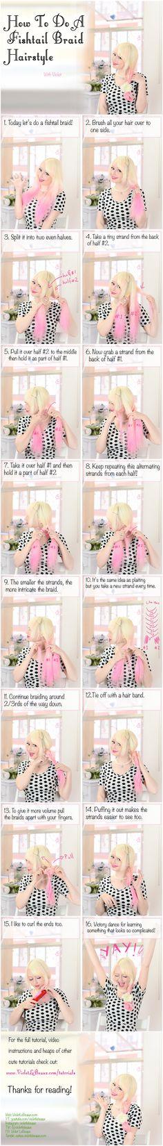 How To Do A Fishtail Braid - Hairstyle Tutorial by VioletLeBeaux.deviantart.com on @deviantART