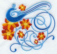"""Blue Whimsy and Flower FiligreeProduct ID:F3339 Size:5.4""""(w) x 4.86""""(h) (137.2 x 123.4 mm)Color Changes:6 Stitches:25453Colors Used:5 BIRD 2 SIZES"""