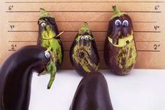 eggplant lineup - creative food photography