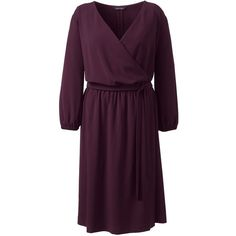 Lands' End Women's Plus Size 3/4 Sleeve Woven Surplice Dress ($115) ❤ liked on Polyvore featuring plus size women's fashion, plus size clothing, plus size dresses, dresses, red, surplice dress, three quarter sleeve dress, v neck dress, purple dress and red crepe dress