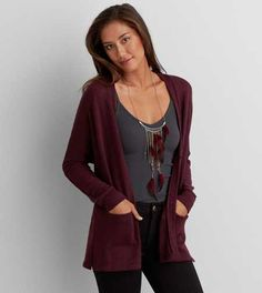 Burgundy Knit Sweater   American Eagle Outfitters