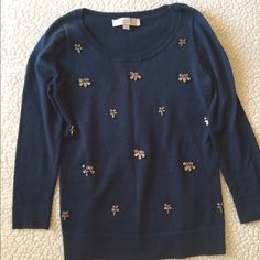 Jeweled Navy LOFT Sweater STEALS & DEALS!!!   Navy blue Loft sweater with jeweled front and 3/4 sleeves.   **Fit: Runs small- could fit XXS **Condition: Used. Has pilling but maybe a sweater shaver could fix it? See pictures **Smoke Free/Pet Free home **Price Firm **No trades on this LOFT Sweaters Crew & Scoop Necks
