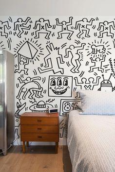 Symbols Wall Panels, self-adhesive, eco-friendly, removable fabric wall decals by BLIK. Artwork by Keith Haring. Pattern Wall, Wall Patterns, Dog Pattern, Patterned Wall Tiles, Doodle Wall, Keith Haring Art, Wall Drawing, Removable Wall, Wall Wallpaper