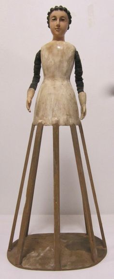 CARVED WOOD FEMALE MANNEQUIN-CAGE DOLL