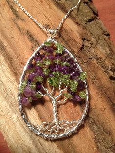 Tree of Life Pendant-Peridot and Amethyst por Just4FunDesign