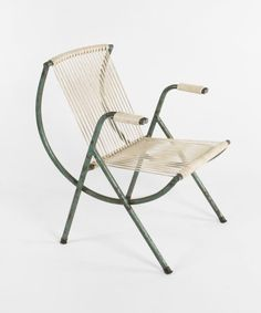 Anonymous; Enameled Metal and Cord Armchair, c1950.