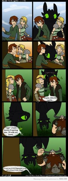 How to train your dragon. I only have one thing to say. In panel 6 Toothless.....has teeth.