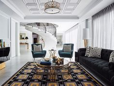 Luxurious living | We can't get enough of this recent @gregnatale project, featuring a custom coloured version of our LAKE COMO rug. Handmade in New Zealand wool, this warm grey geometric design is hand carved to create sharp details, and highlighted with pops of rich yellow to complement the teal accents. Enquire about owning a Greg Natale rug of your own! www.designerrugs.com.au Reposted Via @designerrugs