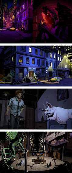 """Screenshots from the upcoming video game """"The Wolf Among Us"""" based on Bill Willingham's FABLES comic series. Such a unique animation style that still retains a strong graphic novel feel. V Games, Video Games, Fables Comic, Mafia, The Wolf Among Us, Big Bad Wolf, Seven Wonders, Wolf Howling, Life Is Strange"""