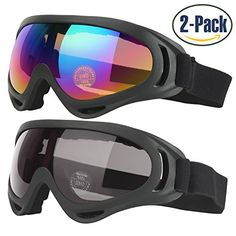 Ski Goggles, 2-Pack Skate Glasses for Kids, Boys & Girls, Youth, Men & Women, with UV 400 Protection, Wind Resistance, Anti-Glare Lenses, made by COOLOO //Price: $10.29 & FREE Shipping //     #hashtag1