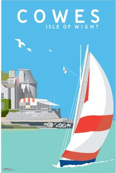 This modern print of Cowes in the Isle of Wight has been designed to look like a vintage travel poster from the heydays of the British Railways in the 1940s and 1950s. The print is mounted with a light ivory border and 30cm wide and 40cm high so it can fit easily into a standard frame.