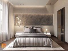 "Photo of the bedroom interior from the project ""Bedroom"" - Trend Home Dekor Modern Master Bedroom, Minimalist Bedroom, Contemporary Bedroom, Home Bedroom, Bedroom Wall, Bedroom Decor, Bedroom Ideas, Luxury Bedroom Design, Master Bedroom Design"