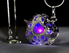 """Sunset Purple Glowing Heart  in 925 Sterling Silver SP With 18"""" Sterling Silver SP Snakechain, Glow Pendant, Glow in the Dark, Glow Jewelry"""