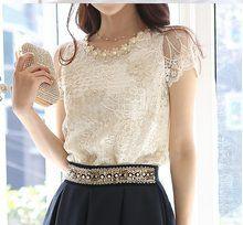 Com: compre 2015 nova moda elegante beading lace bordados Cheap Blouses, Shirt Blouses, Blouses For Women, Trendy Dresses, Elegant Dresses, Camisa Feminina Plus Size, Formal Tops, Lace Sleeves, The Dress