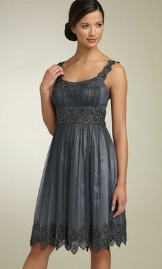 bridesmaid dresses short gray.....I would make it different but I love the way it's put together, lace, color and the beads!!!